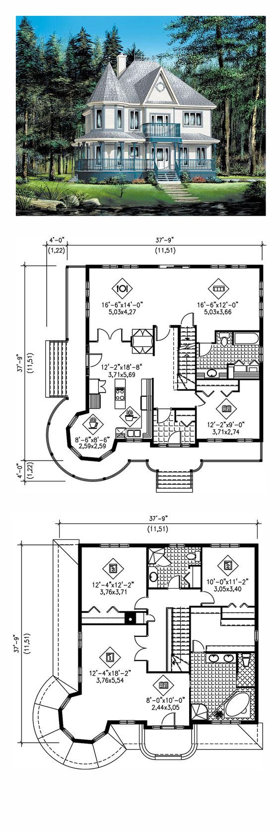 Country Farmhouse Victorian House Plan 49660 Two Sided