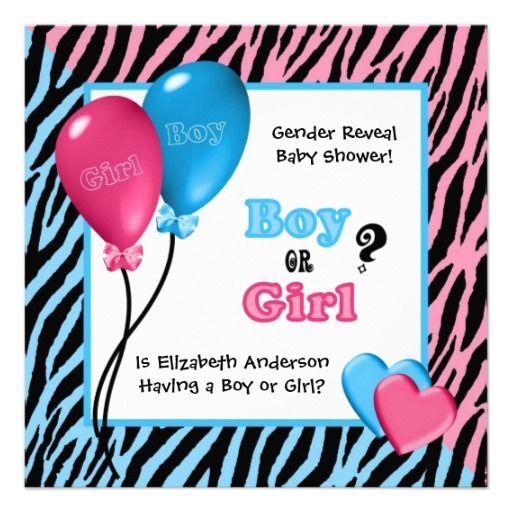 Zebra Print and balloons gender reveal baby shower invitation – Baby Gender Announcement Wording