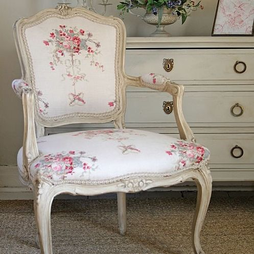 Pretty chair upholstered in Kaate Forman Isobella fabric