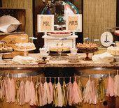 Pink and Gold Confetti System Vintage Dessert Bar