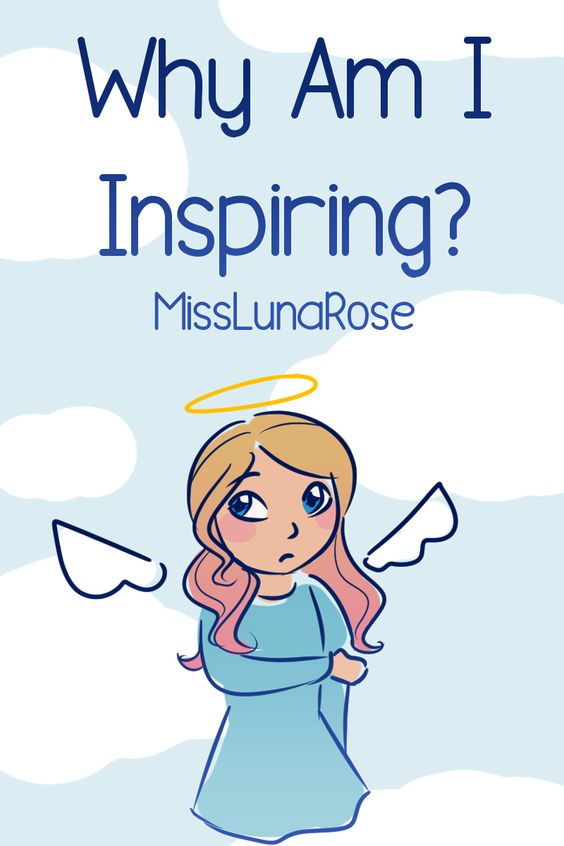 "A cover image with the words ""Why Am I Inspiring?"" The picture is of me dressed like an angel looking awkward because I'm actually a human."