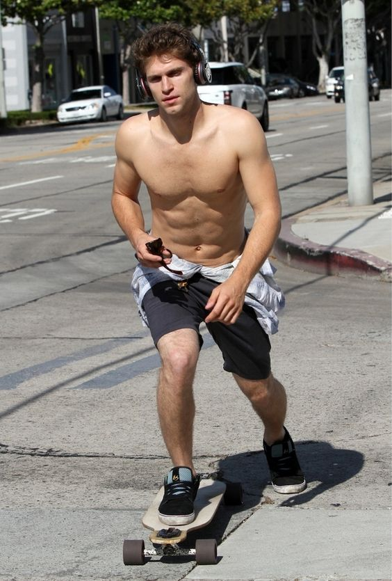 Keegan Allen Likes To Skateboard Shirtless   The head