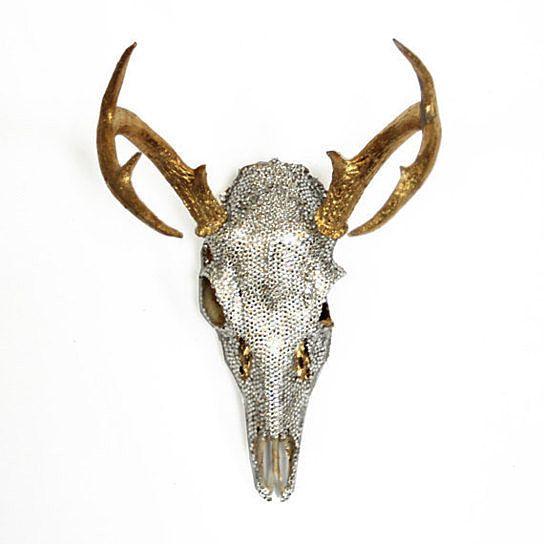 Super Glam Gold and Swarovski Crystal Encrusted Deer Skull