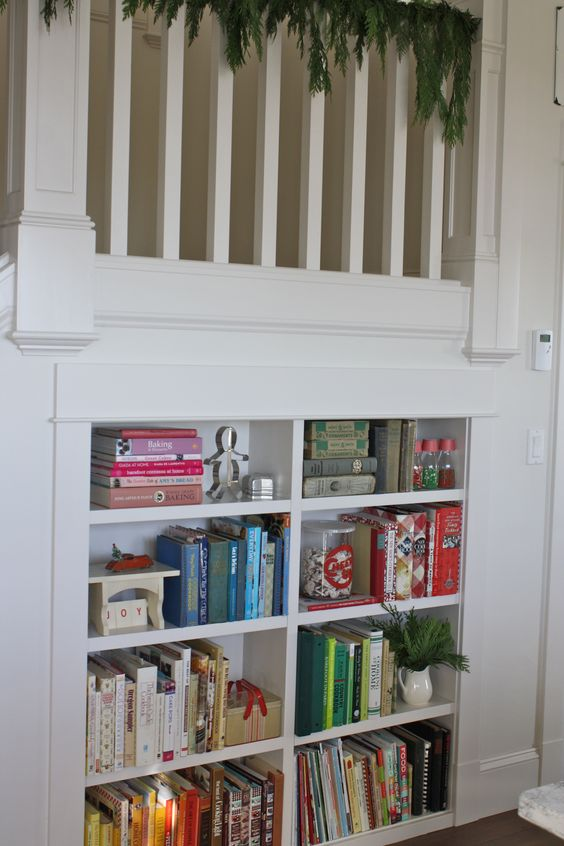 bookcase in stairs stairs and reilings pinterest