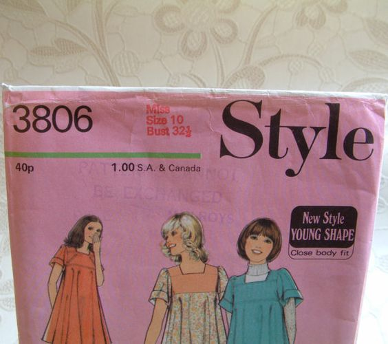 Vintage Sewing Pattern 1970's Style dress in 2 by PaintedSongbird