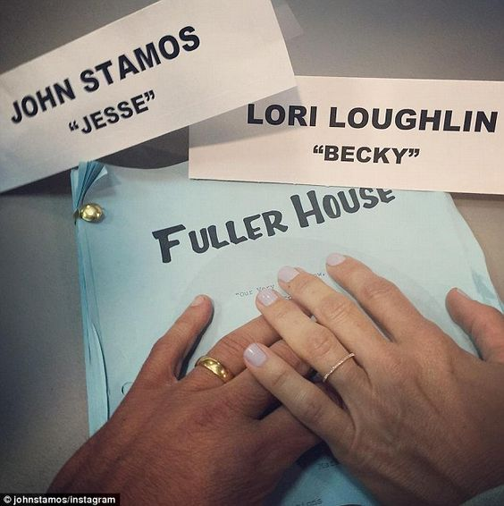 Becky and Jesse together Forever': John Stamos, 51, shared a photo to Instagram on Monday, 27 July 2015, which showed his hand and his co-star Lori Loughlin's hand on the set of Netflix's Fuller House
