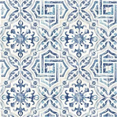 3117 12332 Sonoma Blue Spanish Tile Wallpaper By Chesapeake Geometric Wallpaper Brewster Wallpaper Tile Wallpaper
