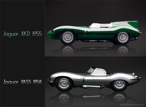 I love the Jaguars: they made the XKD to race; it has a graceful rear with a surprising fin! It was the most successful racing car of its generation. It became so successful (three consecutive victories in Le Mans 24 hour race) that Jaguar made a road version a few years later: the beautiful XKSS