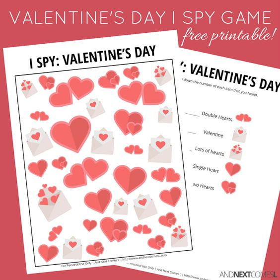 Fun Valentine's activity for children - I spy game free printable - great visual challenge for your kids