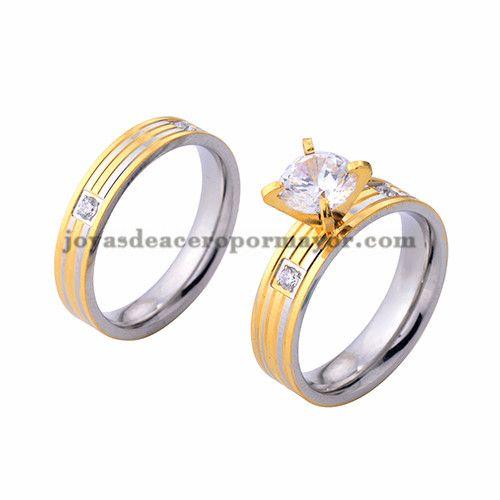 anillo de compromiso cristal en acero dorado y plata inoxidable para amantes…