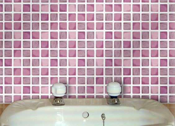 """Self Adhesive Wall Tiles for Kitchens and Bathrooms - DUSKY PINK MOSAIC - 4"""" x 4"""" Tiles (10cm x 10cm)"""