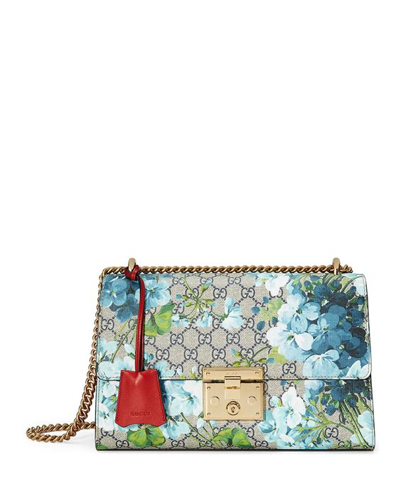 Padlock GG Blooms Shoulder Bag, Blue