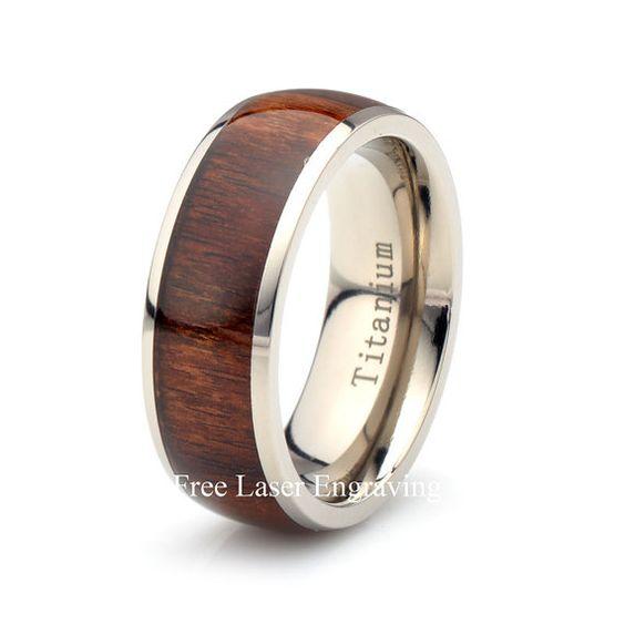 Titane en bois rond, demi-jonc Mens féminines, bombé, anneau de bois, bande en bois titane, bague titane 8mm, anneau de bois