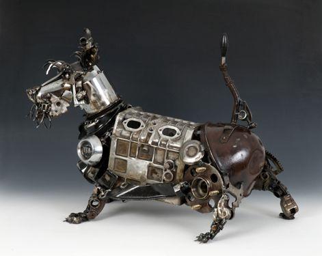 Steampunk dog sculpture by James Corbett