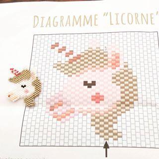 Une petite licorne,  merci @rose_moustache pour ce super diagramme !! Une deuxième est en cours m A fille m a réquisitionné la première... #jenfiledesperlesetjassume #miyuki #souslesoleil #entre2projetscouture: