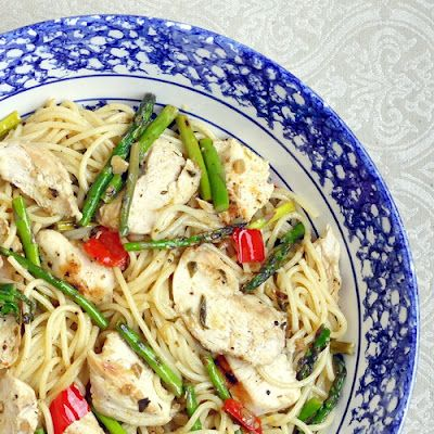 Lemon Chicken Asparagus Spaghetti - if you are looking for real food that can be on the table real fast, here's a terrific place to start.