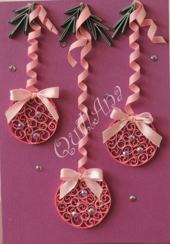Cute quilled ornaments for a card or scrapbook layout for Decoration quilling