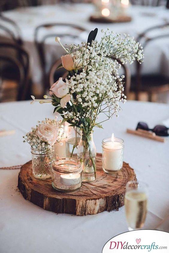 Slice Of Wood Earthy Diy Wedding Centerpieces Rustic Wedding Table Outdoor Wedding Decorations Wedding Table