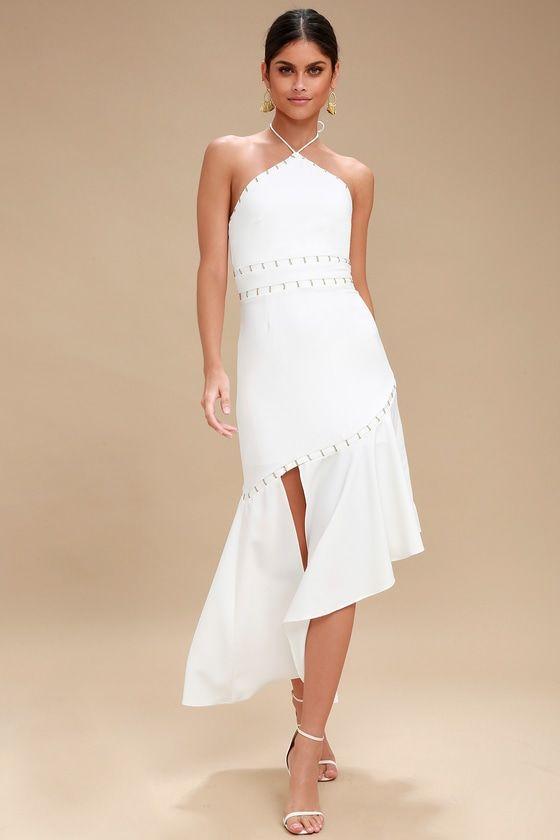 Talisman Ivory Halter Midi Dress Lace Midi Dress Halter Midi Dress Dresses