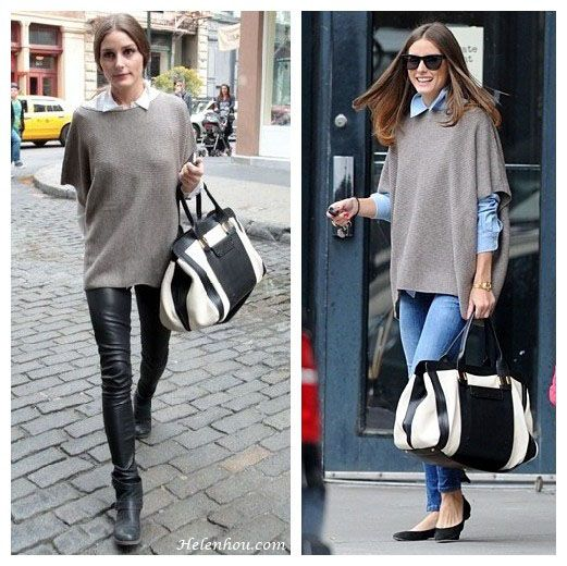 cheap replica chloe handbags - olivia palermo, white shirt, denim shirt, leather pants, Chloe ...