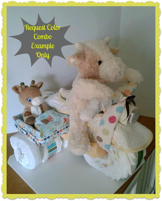 Diaper Cake - Diaper Motorcycle with Side Car - Baby Shower Gift - Baby Shower Centerpiece - Gender Neutral. $115,00, via Etsy.