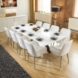 ada2e580f74f Quatropi White Dining Boardroom Table 2.4x1.1m +10 white carver chairs