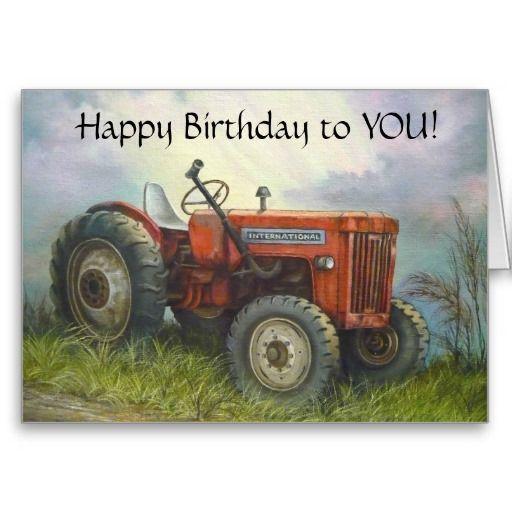 Birthday Old International Farm Tractor Card Alles Gute Zum
