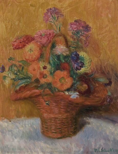 Red Basket Of Zinnias, William James Glackens (1919)