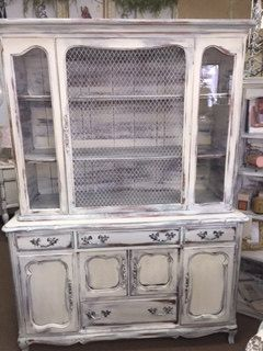 French Provincial Hutch with Metal Grate Door von nottooshabbynj