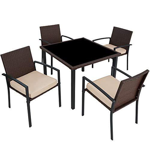 Tectake 800662 Salon De Jardin 4 Chaises 1 Table En Resine Tressee