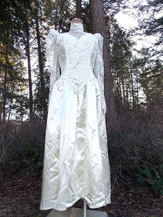 Ending Today! Satin Wedding Dress Size Medium Ivory Lace Victorian Vintage 80s Formal