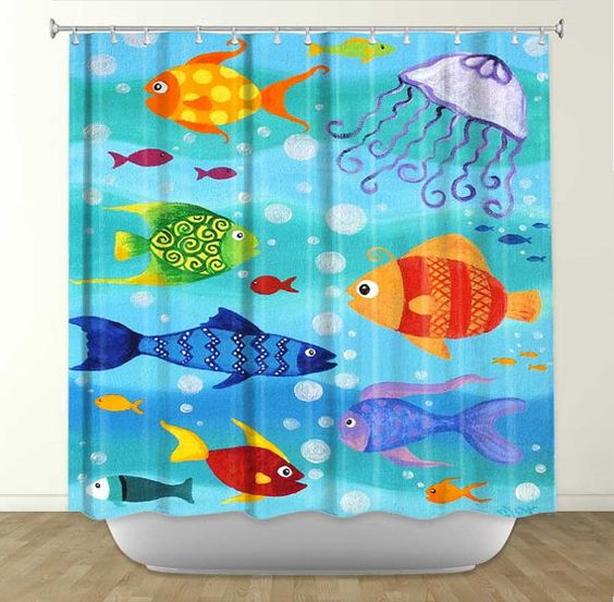 kids fish bathroom set happy fish tropical fish painting 16x20 whimsical fish 18992