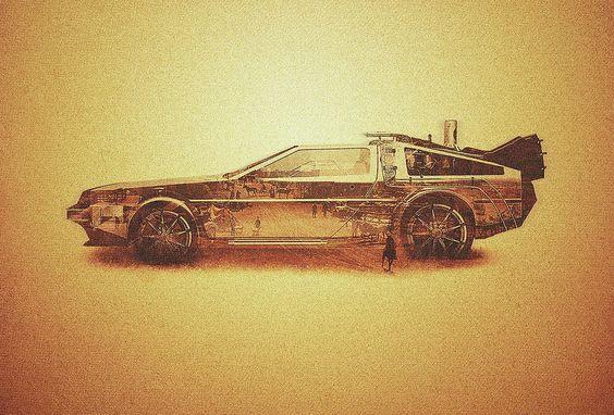 Bttf Digital Art - Lost In The Wild Wild West Golden Delorean Doubleexposure Art by Philipp Rietz