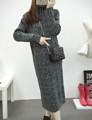 Women's Casual/Daily Street chic Sweater Dress,Striped Crew Neck Midi Long Sleeve Red / Black Cotton Fall / Winter 5208773 2016 – €19.59