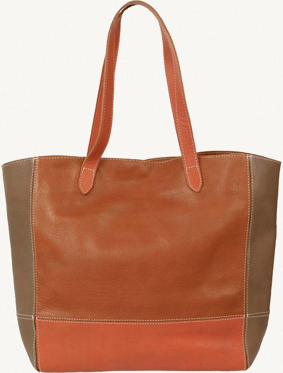 Fat Face Colour Block Leather Tote Bag