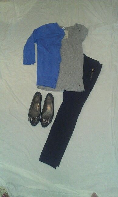 MAY 23: blue cardigan, grey shirt, black ponte pants, coach flats, heart scarf & silver accessories (not pictured)