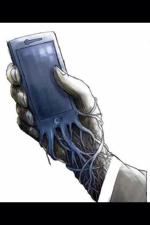 Banksy, the U.K. street artist who doesn't shy from making commentary on social and technology issues with his graffiti street art, published a new sketch with a terrifying reminder that your iPhone has basically become a parasitic extension. banksy