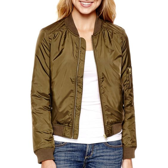 Arizona Long-Sleeve Satin Flight Jacket ($30) ❤ liked on Polyvore ...