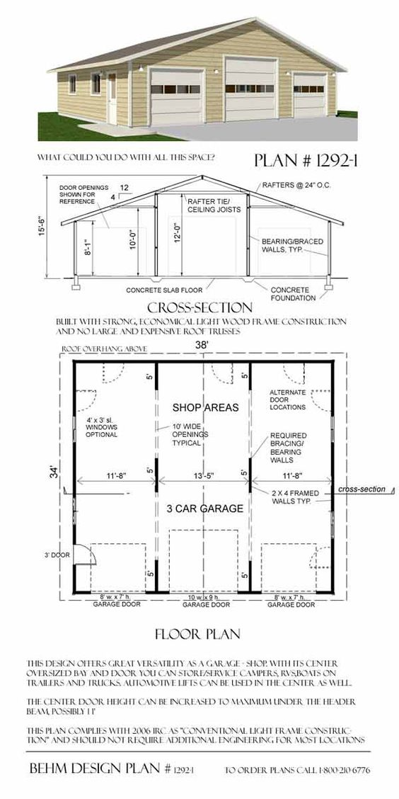 Oversized 3 car garage plans 1292 1 garage pinterest for Oversized garage plans
