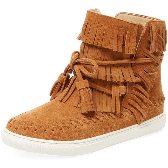 Maiden Lane Women's Poca Fringed Hi-Top - Cream/Tan - Size 10 ($119) ❤ liked on Polyvore featuring shoes, sneakers, fringe sneakers, wrap shoes, high top sneakers, high top trainers and fringe shoes