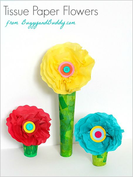 Tissue paper and cardboard tube flower craft tissue for Tissue tube crafts