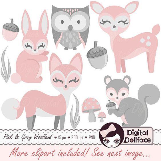 Clipart Animal Woodland bébé fille bébé Clip par DigitalDollface