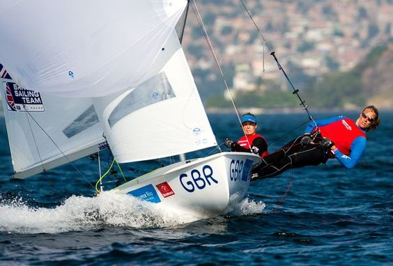 Hannah Mills and Saskia Clark of Great Britain sail in the women's 470 class on the Escola Naval course during the International Sailing Regatta - Aquece Rio Test Event for Rio 2016 Olympics on August 17, 2015 in Rio de Janeiro, Brazil