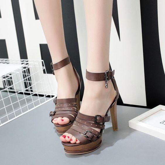 Roman Women Buckle Peep Toe Strappy Shoes Ankle High Stiletto Heel Sandals Hotzy