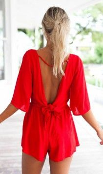 Red sleeved playsuit | Mura Boutique fashion