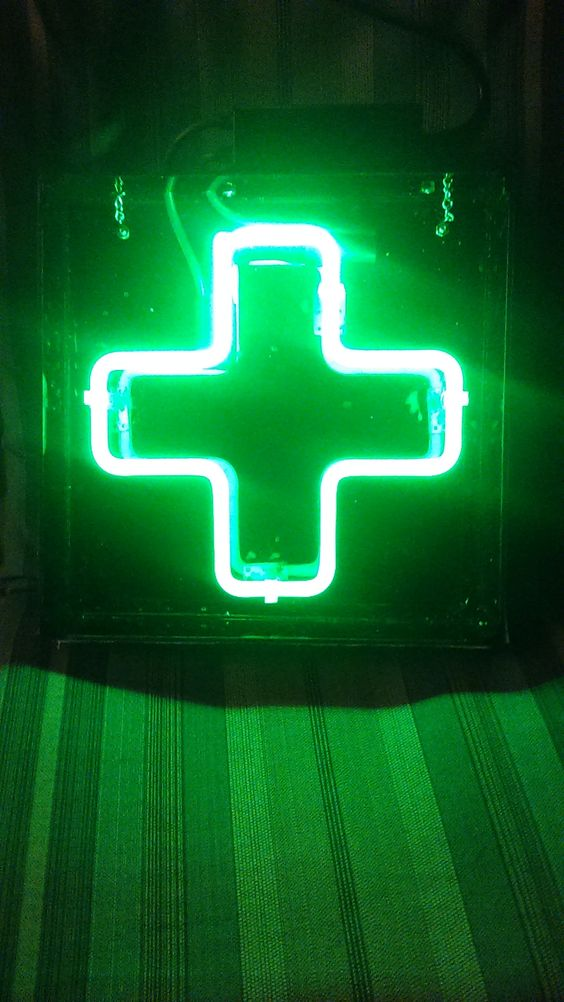 "12"" X 12"" Green, Neon Cross - Dispensary Sign:"