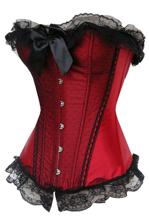 sexy Dessous Corsage Korsett Bustier rot neu Satin Vollbrust Korsage 45b in Kleidung & Accessoires, Damenmode, Damenunterwäsche | eBay