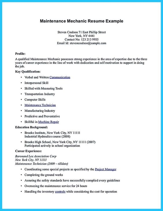 Aircraft Mechanic Resume Examples | Cipanewsletter