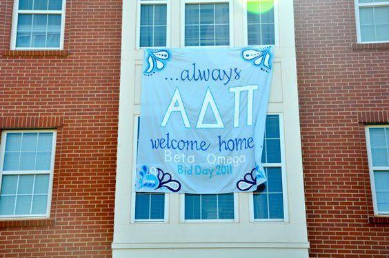 Classic blue/white/ADPi Bid Day theme. Great sheet sign!