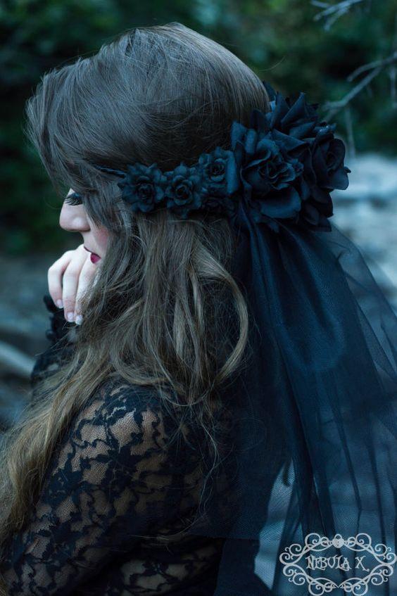 Black Rose and Black Veil Wreath Black Flower by NebulaXcrafts